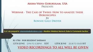 Webinar Recordings: The Case of Twins - How To Analyze Their Horoscopes by Ronnie Gale Dreyer [AVG USA]