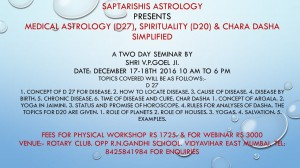 2 Day Webinar on Medical Astrology, Spirituality through Vimsamsa [D20]  By Shri V. P. GOEL [DVD] [SA]