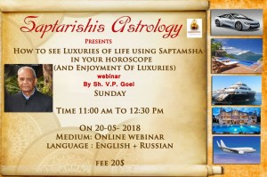 Webinar Recordings:  How To See Luxuries Of Life Using Saptamsha In Your Horoscope By Shri. V.P. Goel  [SA]